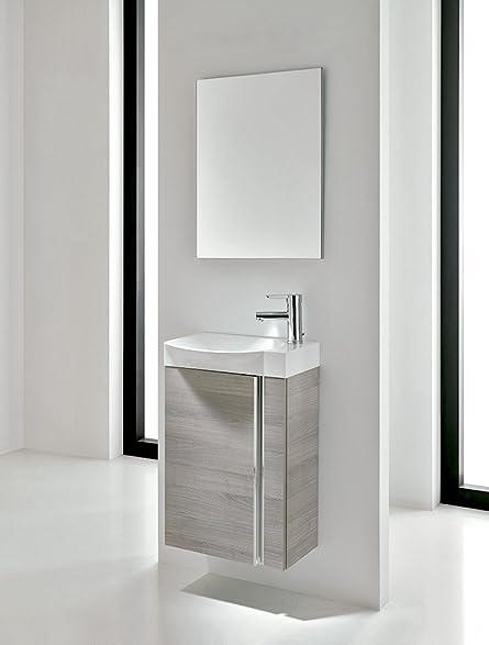 Small Bathroom Vanity Cabinet, Sink And Mirror. Wall Hung 18u0026quot; Vanity,  Ceramic