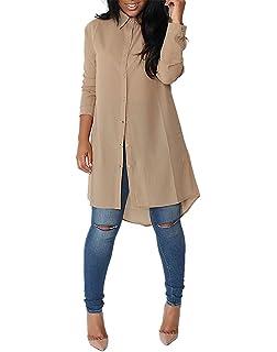 c519fd8f6a186 Minetom Femmes Chemise Robe Manches Longues Mousseline de Soie Lâche Mode  Casual Tunique Robe Blouse Shirt