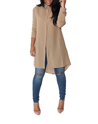 3269ce2d2e230 Minetom Femmes Chemise Robe Manches Longues Mousseline de Soie Lâche Mode  Casual Tunique Robe Blouse Shirt