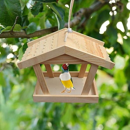 Further Comedero para Pájaros De Madera Tradicional Comedero para Pájaros Mesa para Pájaros Perchas De Jardín, Estación De Alimentación para Casa De Alimentación De Pájaros Grande Estación De Mesa: Amazon.es: Hogar