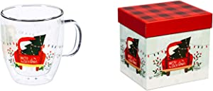 Cypress Home Beautiful Cozy Christmas Trip Double Wall Glass Café Cup with Matching Box - 5 x 4 x 5 Inches Indoor/Outdoor home goods For Kitchens, Parties and Homes
