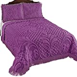 Collections Etc Antique Charm Luxurious Medallion Scroll Chenille Bedspread with Fringe Trim, Plum, Queen