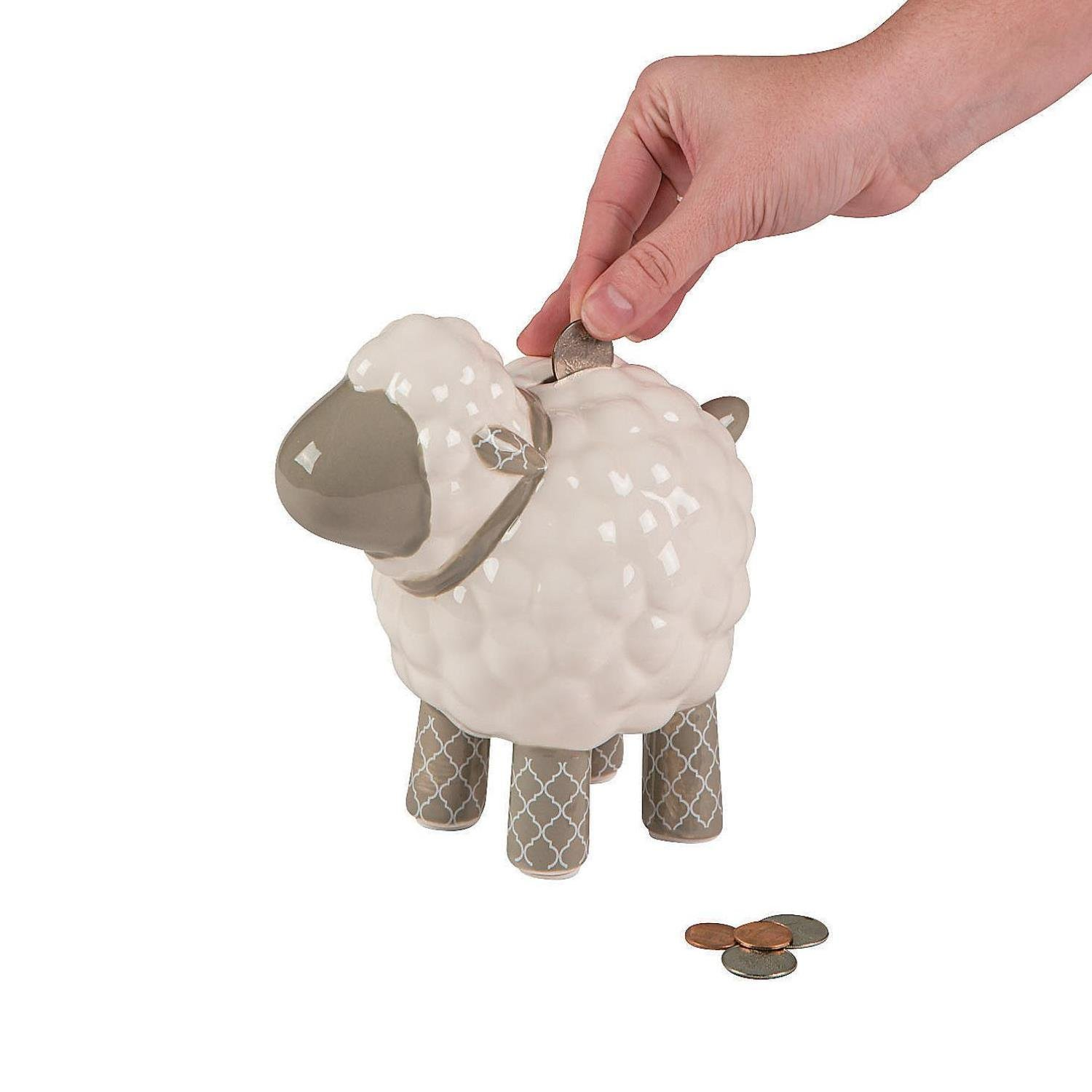 Bargain World Ceramic Religious Lamb Bank (With Sticky Notes)