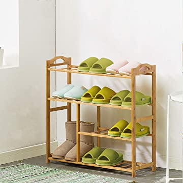 Lintat 4-Tier Multifunctional Bamboo Plant Stand Storage Organizer, Free Standing Shelves for Hallway Bathroom Livingroom Garden (4-Tier)
