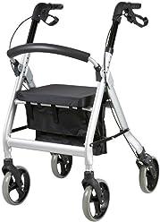 FabaCare Premium XXL Rollator G-233, höhenverstellbar, faltbar, mit Sitz, klappbare Rückenlehne, Tasche, Gehwagen, Rollwagen, bis 200 kg