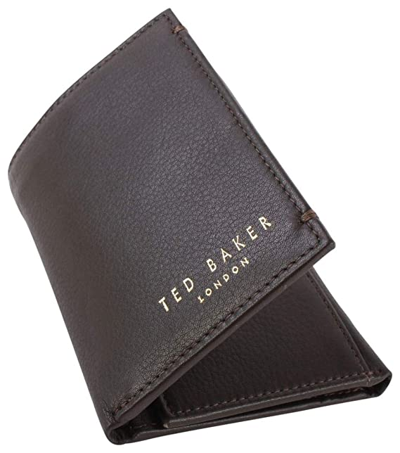 0de7e8559 Ted Baker Jonnys Mini Card Trifold Leather Wallet - Chocolate  Amazon.co.uk   Clothing