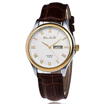 CHRONSTYLE Reloj de cuarzo, negocio analógico de cuarzo los relojes baratos a prueba de agua reloj de pulsera marrón: Amazon.es: Electrónica