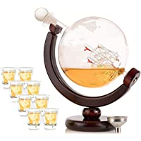 Olivia & Aiden Whiskey Decanter Globe with 8 Shot Glasses (Large 850 mL) World Map Liquor Dispenser | Unique, Vintage…