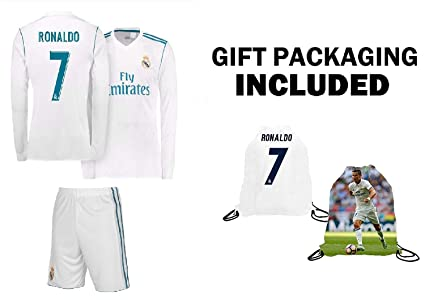 1f7250d006e74 RAMFC Real Madrid Ronaldo Kids #7 Soccer Kit Jersey + Shorts + Bag Gift KIT