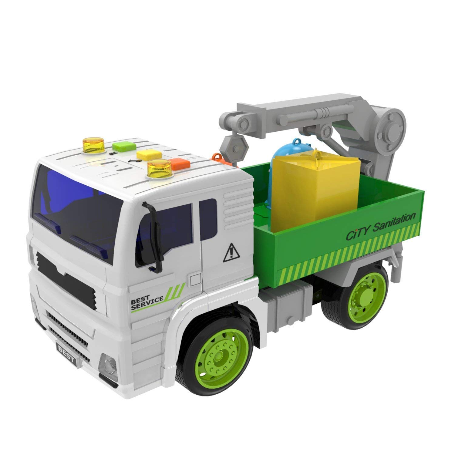 Fun Little Toys Garbage Truck Friction Powered with Light and Sound, 4 Wheels, 3 Dustbins and a Rotatable Hook, 1:20 Simulation Model-City Sanitation Series, Green and White