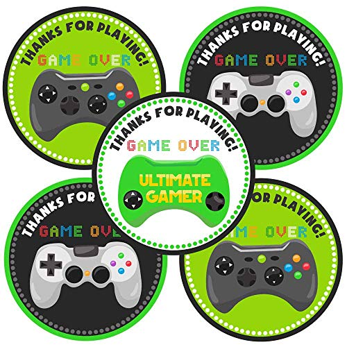 Video Game Thank You Sticker Labels - Birthday Goodie Bags Party Favors Envelope Seals - Set of 30