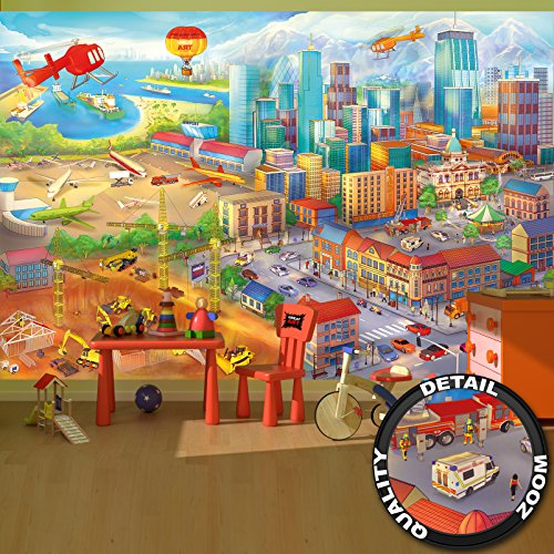 Wallpaper Children Room comic style wall picture decoration city building-site helicopter airplane digger airport I paperhanging poster wall decor by GREAT ART (132.3 Inch x 93.7 Inch/336 x 238 - Harbour Town Centre