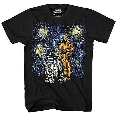 dca96d93ae67e8 Amazon.com  Star Wars Starry Night R2-D2 C-3PO Van Gogh Adult Men s ...