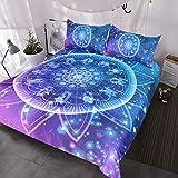 BlessLiving Zodiac Bedding Lotus Mandala 3 Pieces Bling Glitter Galaxy Burgundy Bedding Set Indian Astrology Hippie Duvet Cover Set (King)