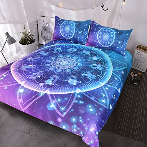 BlessLiving Zodiac Bedding Lotus Mandala 3 Pieces Bling Glitter Galaxy Burgundy Bedding Set Indian Astrology Hippie Duvet Cover Set (Full) (Size Set Bed Full Galaxy)