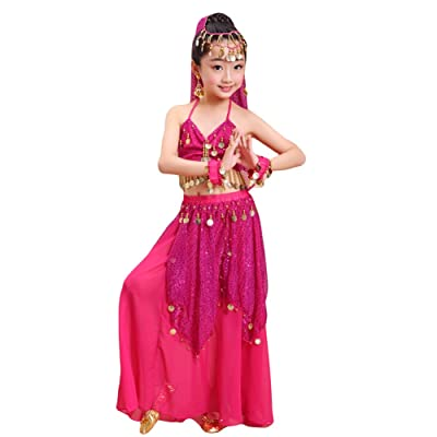 Apparel-Saymequeen Saymequeen Girls Belly Dance Costume 120D Chiffon Fabric Halloween Costumes