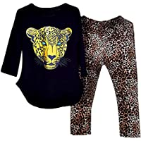 Kidlove Kids Girls Leopard Pattern Tops +Pants Leggings Casual Clothes Set Daily Wear