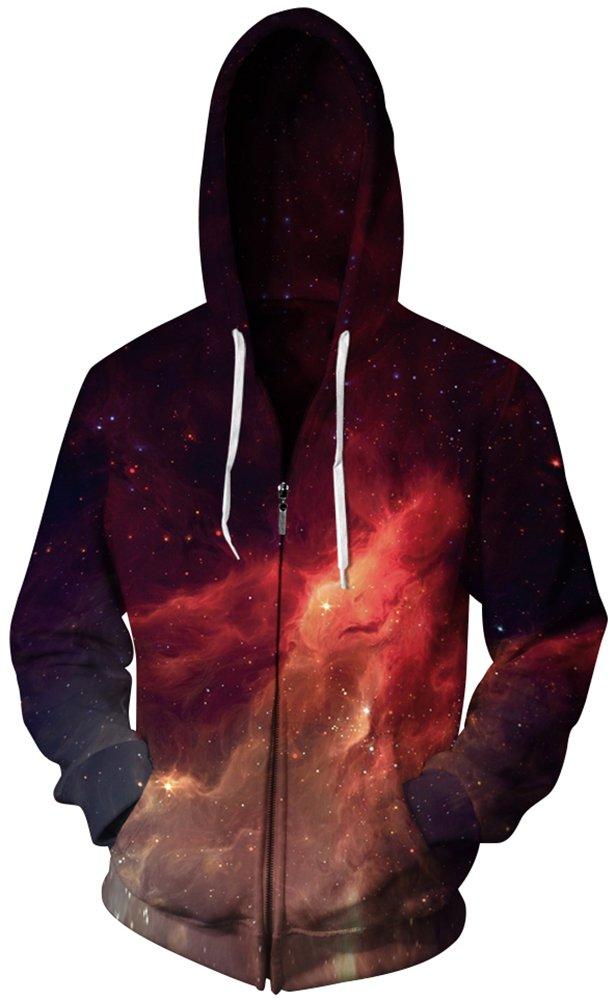 Imilan Men't Full Zip Hoodie Heavy Weight Sweatshirts Jacket Hooded Coat (Small/Medium, Fire Galaxy 1)
