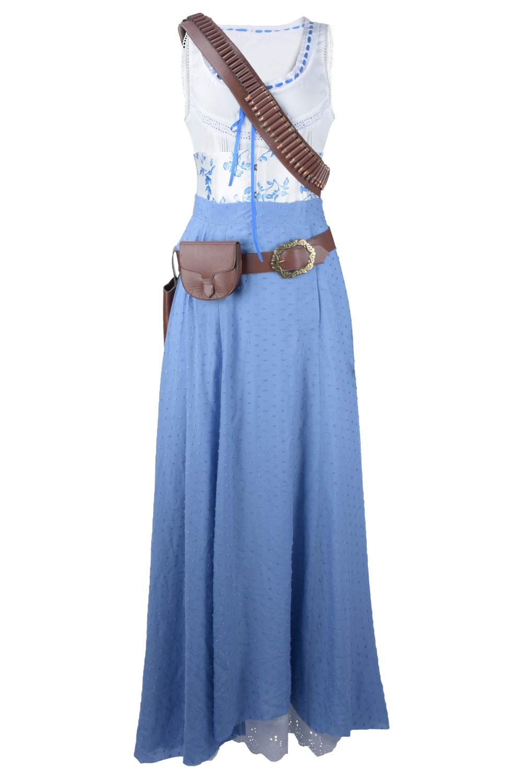 MingoTor Superheldin Dolores Abernathy Kleid Cosplay Kostüm Maßanfertigung Blau L