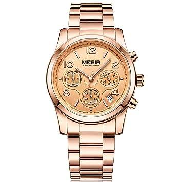 QRMH Mujer De Acero Inoxidable Reloj Moda Tendencia De Múltiples Funciones Cronógrafo Calendario De Acero Cinturón