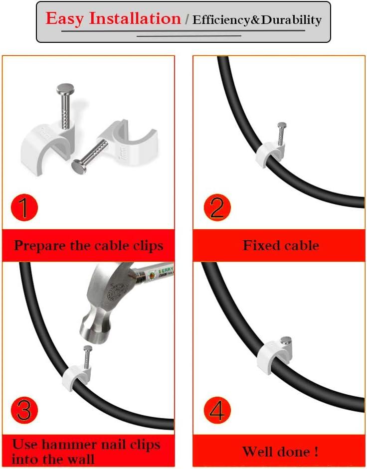 c/âble coax RG6 Securicam 100 x 9mm Pinces de fil de c/âble rond blanc avec clips de fixation pour la gestion des c/âbles /électriques,Ethernet,fil CAT5 UTP RJ45 ou autre fil // c/âbles CAT6 RG59