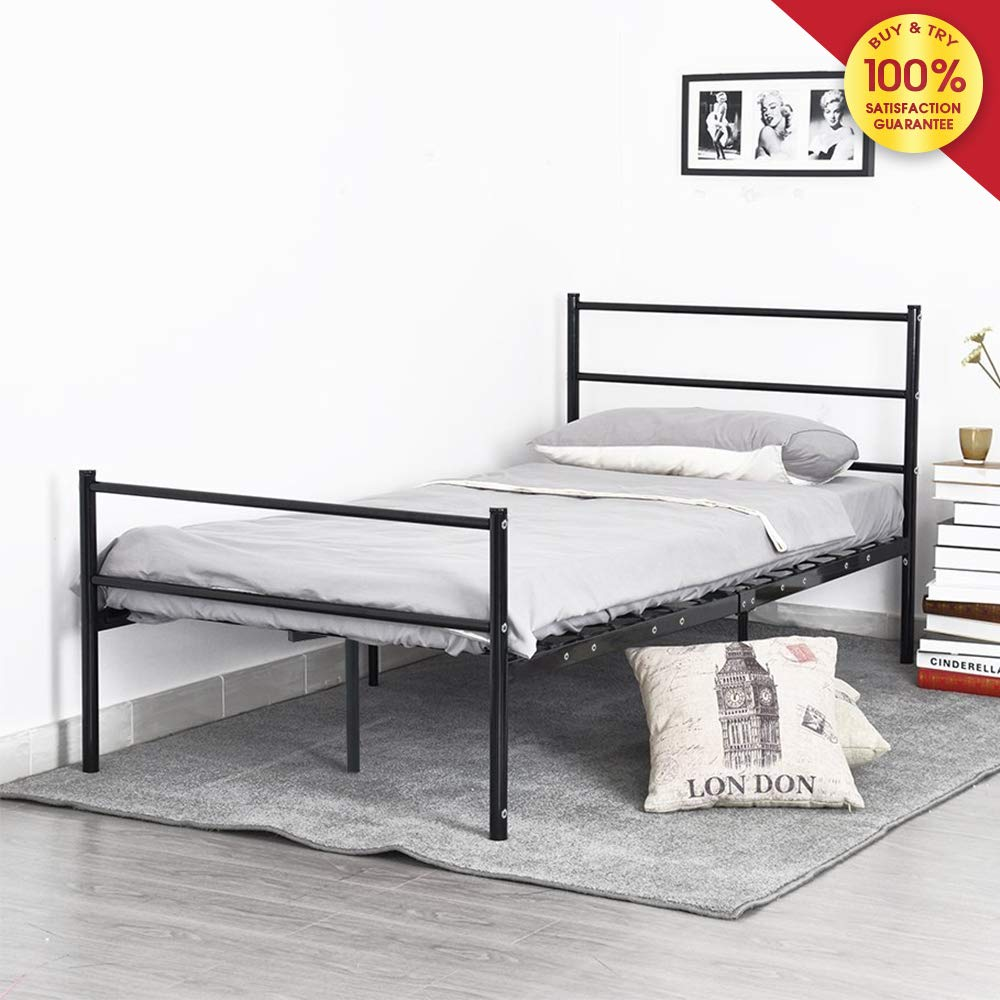 MIERES Double Metal Beds Frame with Large Storage Space for Children or Adults Fit 86'' 55'' Mattress Black, Blcak by MIERES