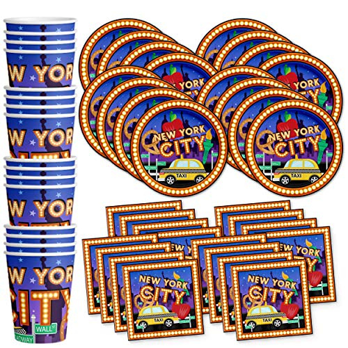 New York City NYC Birthday Party Supplies Set Plates Napkins Cups Tableware Kit for 16 ()