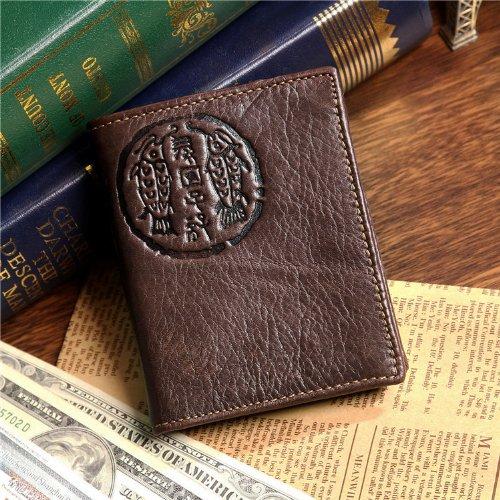 !! Vintage Cow Leather Wallets for Men Purse Case Card Ho...
