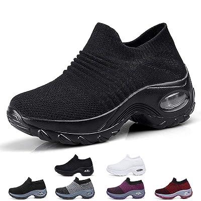 Funnie Women's Walking Shoes Sock Slip On Breathe Comfort Mesh Fashion Sneakers Air Cushion Lady Girls Modern Jazz Dance Shoes Platform Loafers | Walking