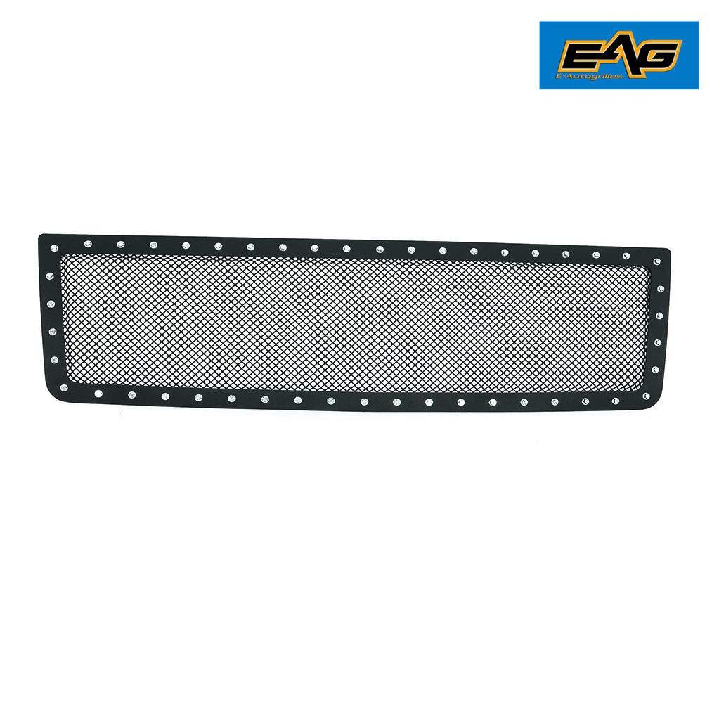 EAG Black Stainless Steel Wire Mesh Grille Chrome Rivet Insert Fit for 07-13 GMC Sierra 1500