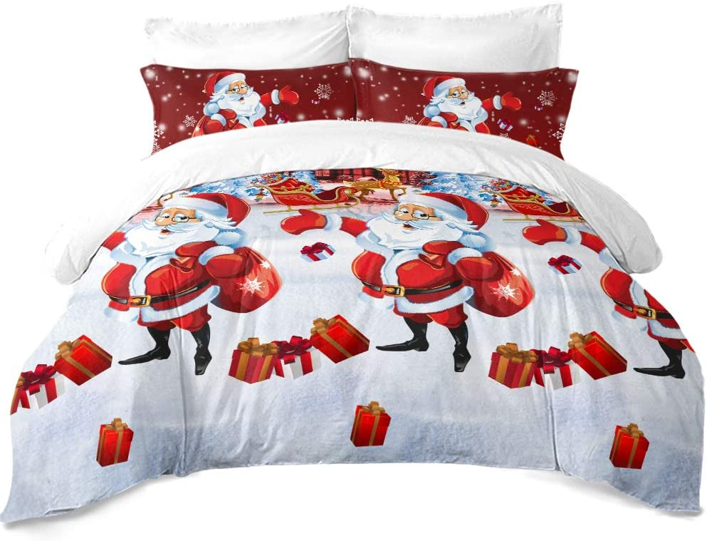 "JSTextiles Christmas Bedding 4 Piece Duvet Cover Santa Cluas Bedding Set Full Size 80""x90'' Cute Quilt Cover for Girls/Boys Gift(NO Comforter)"
