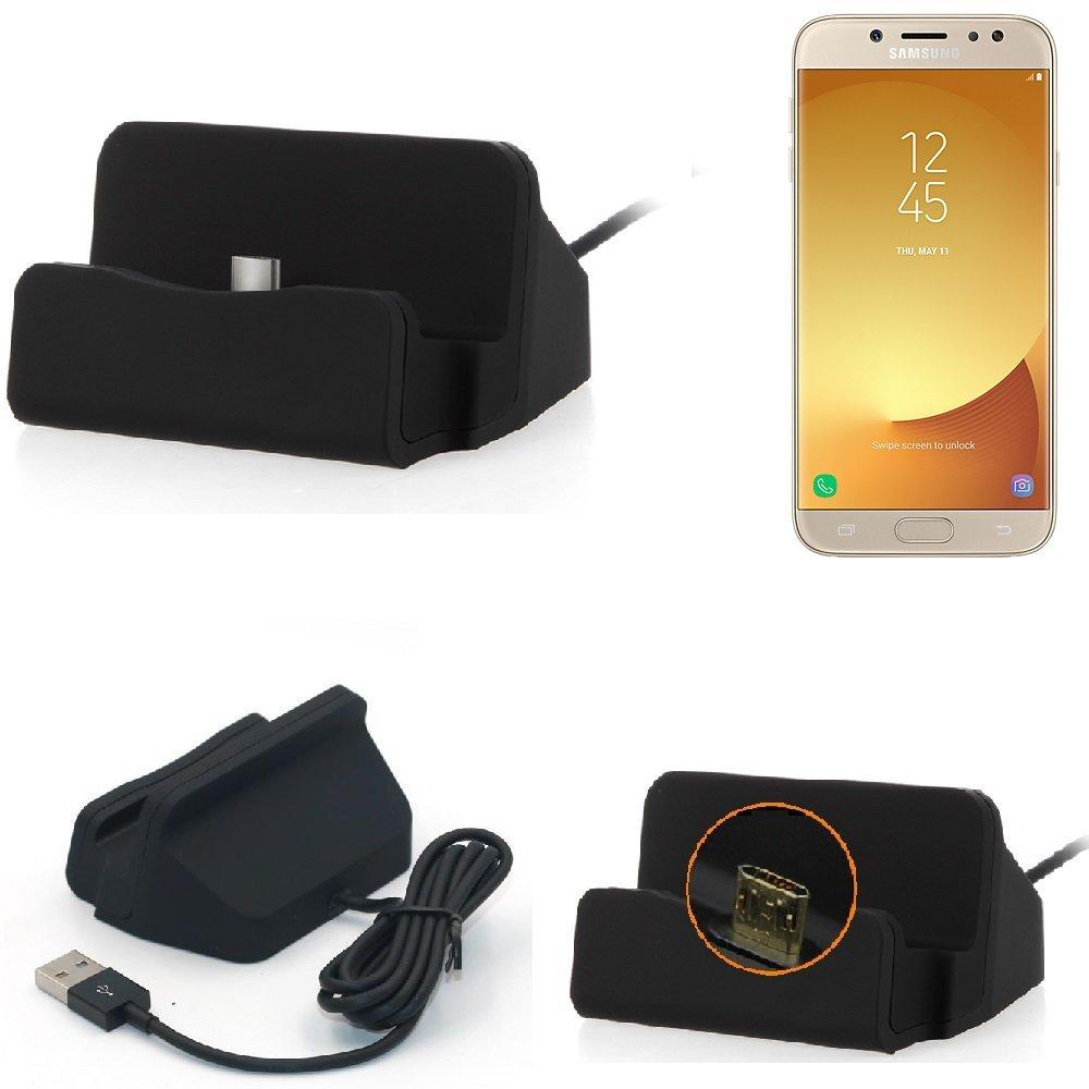 KS-Trade Base de Carga para Samsung Galaxy J7 (2017) Duos Micro USB Cargador suporto estación de acomplamiento Mesa, Negro