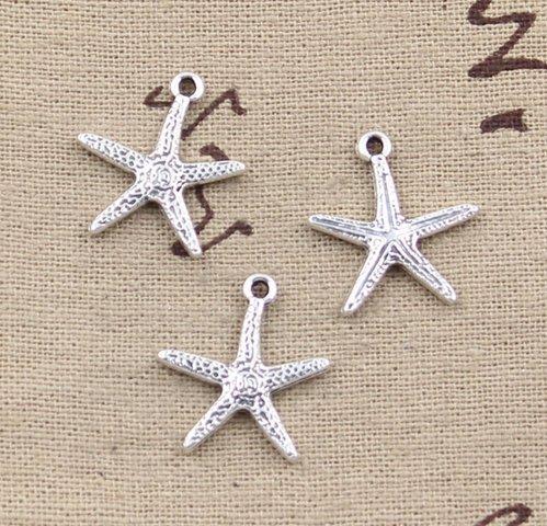 (NP Supplies 12 Silver Starfish Charm Pendants 20x18mm Stars Ocean Beach Nautical (NS828))