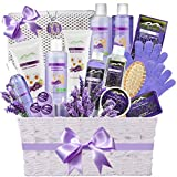 Deluxe Spa Gift Basket for Women - Super Large Lavender Essential Oil & Chamomile Aromatherapy Spa Kit Bed Bath & Body Gift Basket for Women!