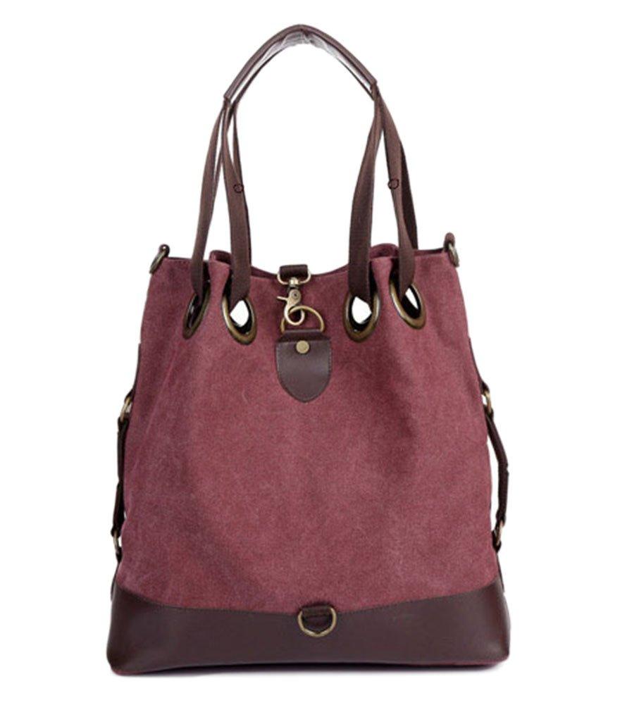 WLE Retro Big Hobo Shoulder Bag Womens Canvas Casual Purse Bucket Crossbody Bag for women girls ladies.(Wine red)