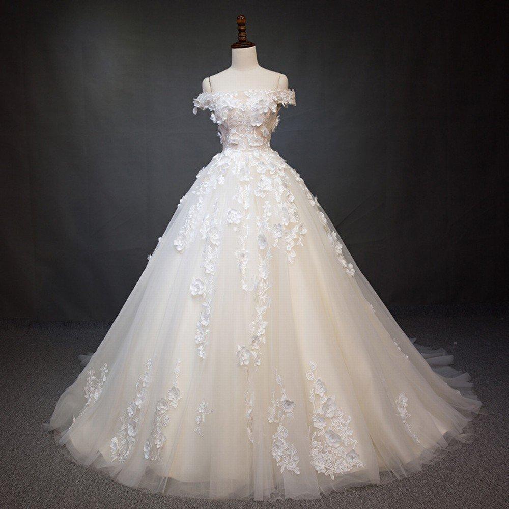 DIDIDD Vestido la de Boda Palabra de Honor Novia de la Vestido Novia,Blanco,S ef9525