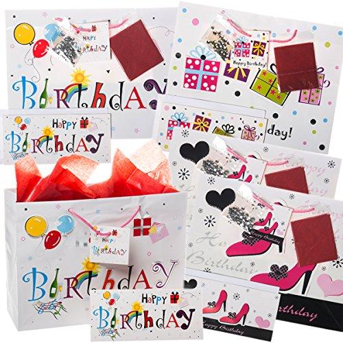 Birthday Gift Set Happy (20pc Happy Birthday Gift Bag Set Cards Envelopes Tissue Paper Handles Party Bulk Lot, For Women, Medium Size)