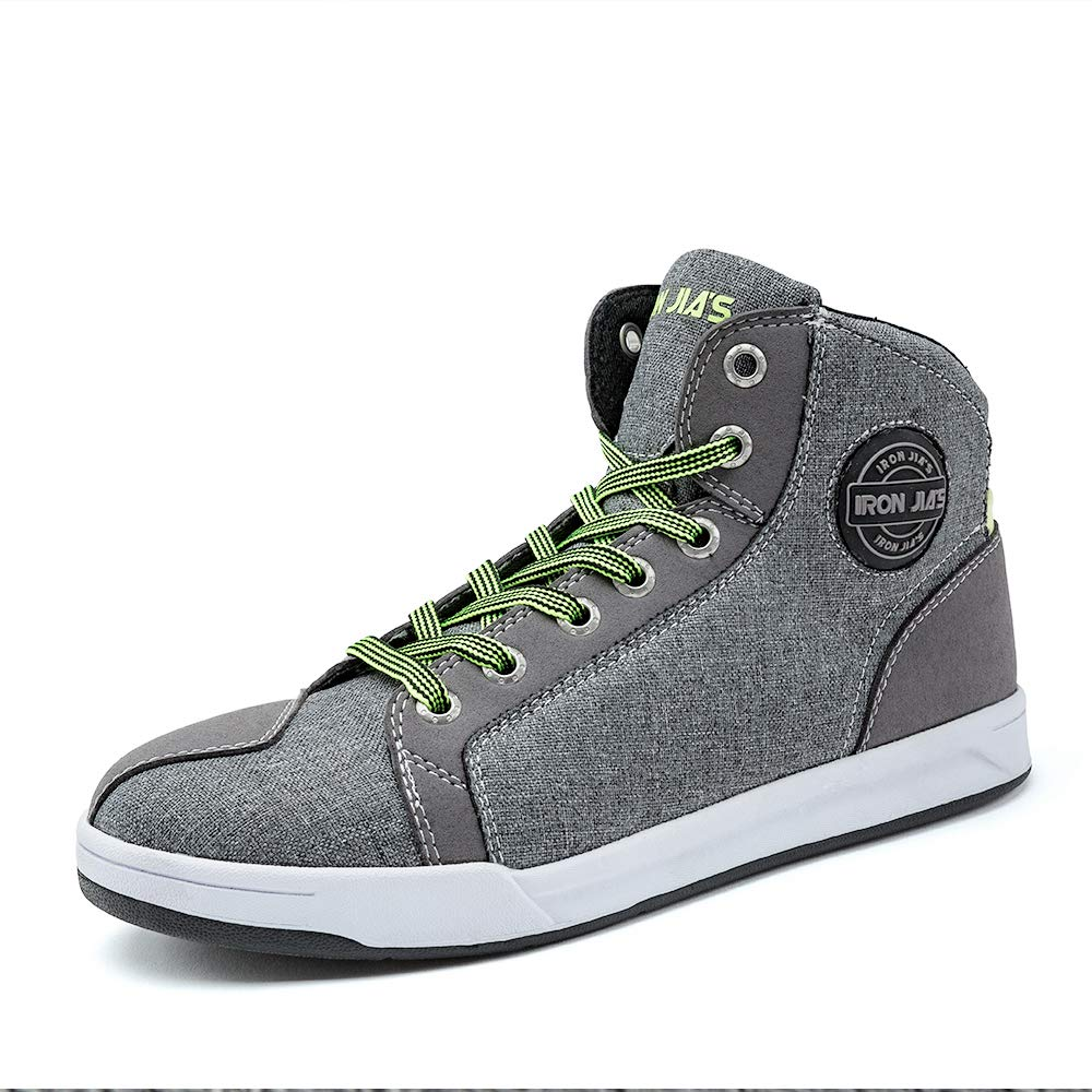 IRON JIAS Motorcycle Shoes Men Streetbike Casual Accessories Breathable Protective Gear Powersport Anti-Slip Footwear 11 Grey