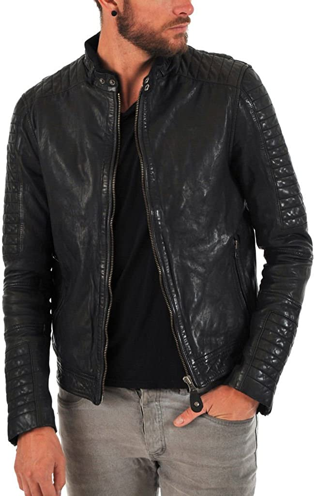 Kingdom Leather Mens Cowhide Real Leather Jacket Black KC067