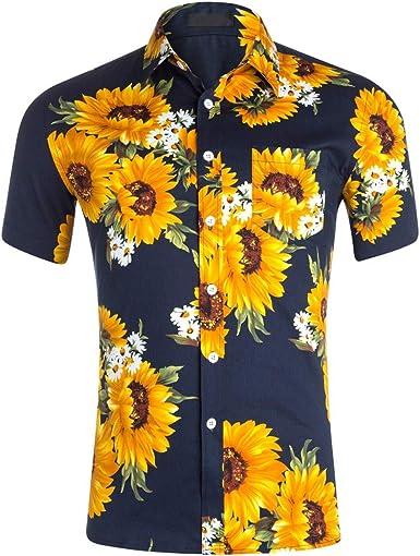 Camisa Hawaiana Informal de Manga Corta para Hombre de Verano ...