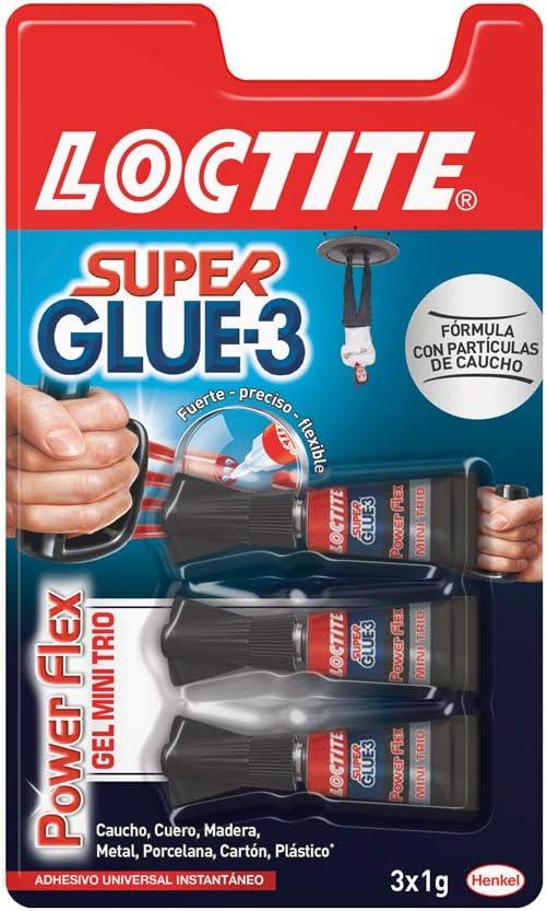 Loctite Super Glue-3 Power Flex Mini Trio, gel adhesivo flexible y resistente, pegamento instantáneo para superficies verticales, pegamento transparente extrafuerte, 3x1g