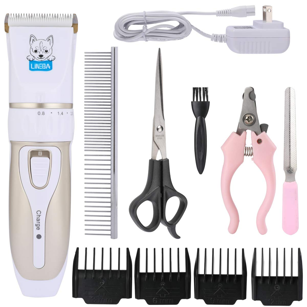 Lineba Ceramic Blade Rechargeable Cordless Pet Hair Clippers Low-Noise Pet Electric Grooming Kit Dogs and Cats Hair Remover by Lineba