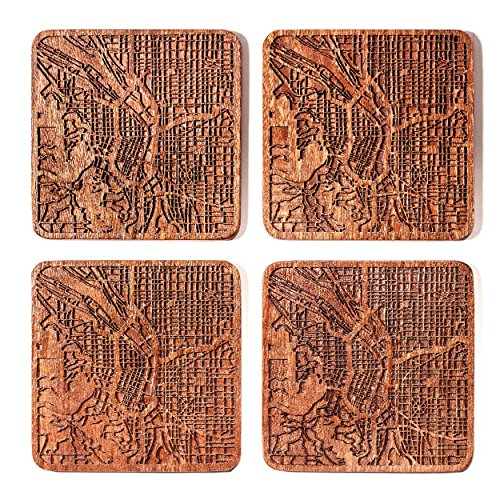 Portland Map Coaster by O3 Design Studio, Set Of 4, Sapele Wooden Coaster With City Map, Handmade