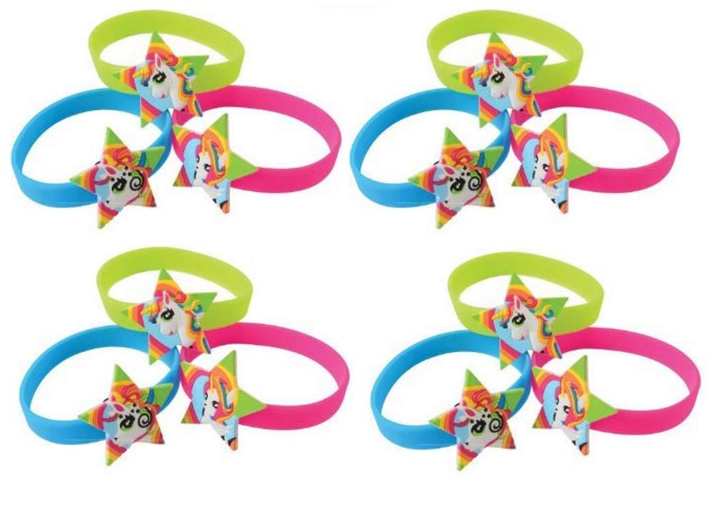 KF Girls Rubber Rainbow Unicorn Star Jelly Bracelets Multipack Set of 12 Birthday Party Favors Silicone Stretch Bands 1 Dozen JS