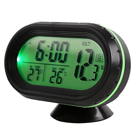 GuDoQi Termómetro Del Coche Reloj LCD Relojes Digitales Portátiles De Pequeña Temperatura De Tiempo Verde