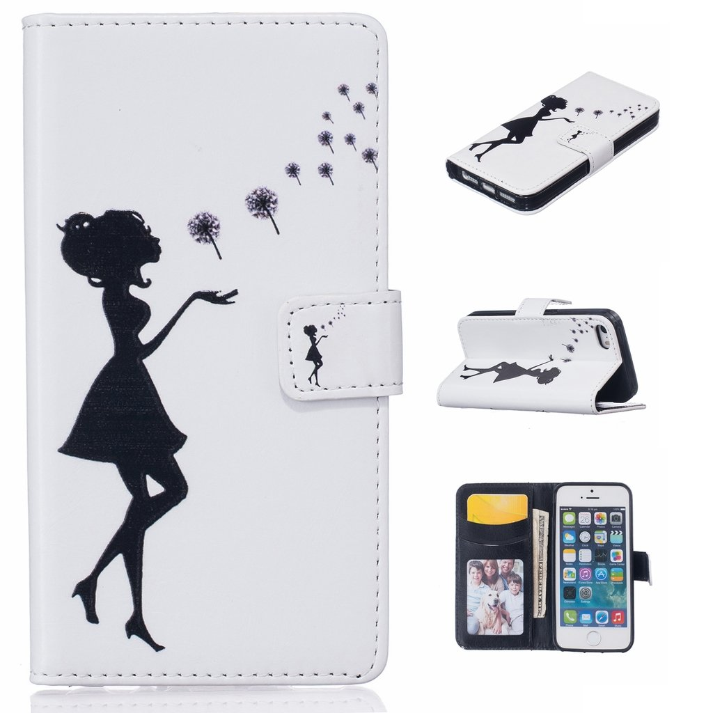 Uming® Il modello della stampa della custodia per armi variopinta della copertura Holster Cover Case ( Girl blowing dandelion - per IPhone6SPlus IPhone 6SPlus 6Plus IPhone6Plus ) Flip-artificiale in pelle con staffa supporto del basamento della carta di cr