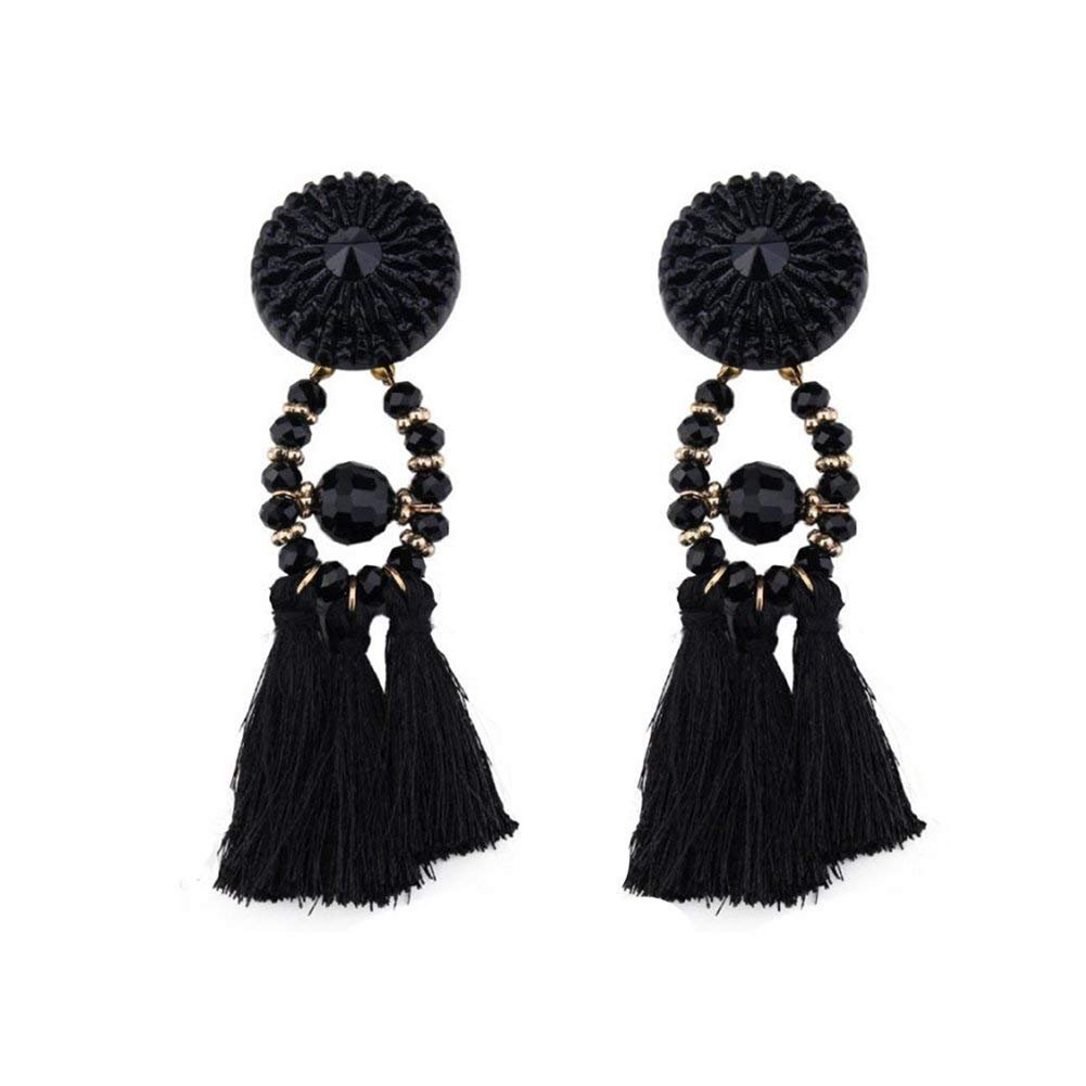 15bac0cca2950 Amazon.com: 1Pair Women Retro Crystal Beads Tassel Long Pendant ...