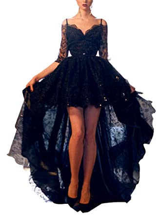 HONGFUYU Fashion Short Front Long Back Black Lace Half Sleeve Prom Dress for Special Formal Occasion