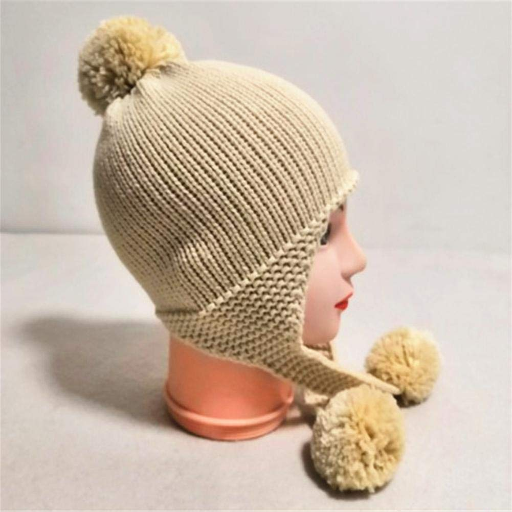 Alloet Cute Kids Boys Girls Winter Warm Hat Beanies Cap Solid Pompom Knitted Hats