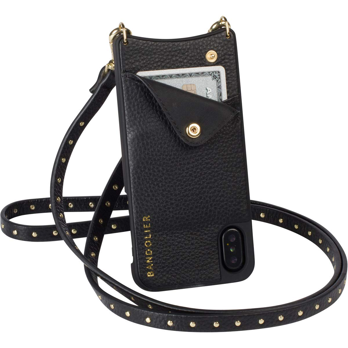 Bandolier [Nicole] Crossbody Phone Case and Wallet - Compatible with iPhone 8/7 / 6 - Black Leather with Gold Accent by Bandolier (Image #2)